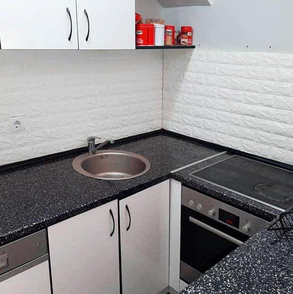 3d tapete bela cigla kuhinja